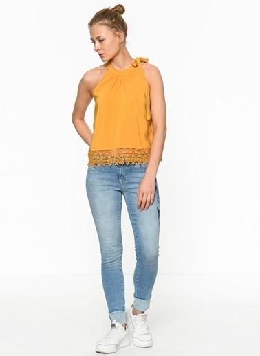 Only Dantelli Bluz Sarı